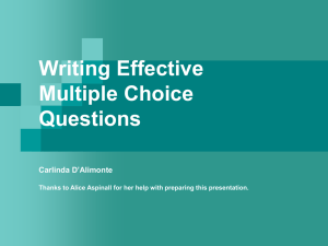 Multiple Choice Questions - walkliteracy