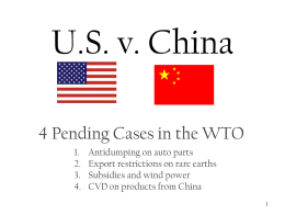 U.S. v. China - International Trade Relations
