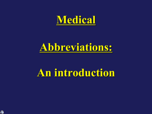 TPJ 3C Medical Abbreviations Intro