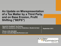 An Update on Misrepresentation of a Tax Matter by a Third Party