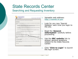 State Records Center Searching and Requesting Boxes