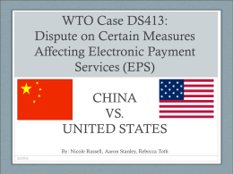 CHINA VS. UNITED STATES - International Trade Relations
