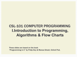 Introduction to Programming: Algorithms & Flowcharts