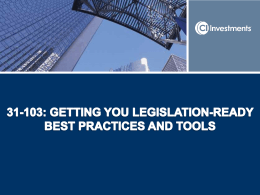 31-103: Getting You Legislation-Ready (CRM)