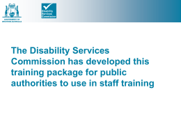 customer service - Disability Services Commission