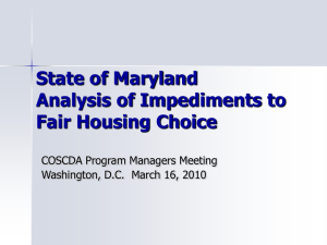 State of Maryland Analysis of Impediments to Fair Housing