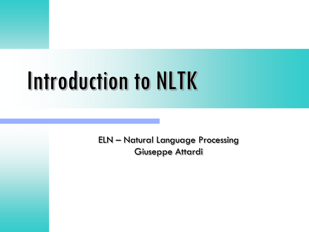 Getting started with Python/NLTK