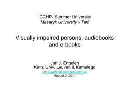 """Visually impaired persons, audiobooks and e"