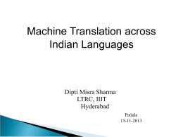 Machine Translations Across Indian Languages-I, II
