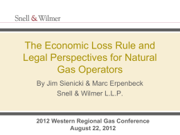 Economic Loss Rule - Western Regional Gas Conference