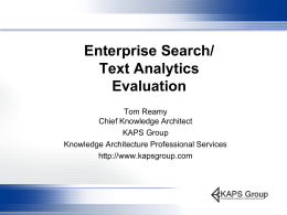Enterprise Search / Text Analytics Evaluation