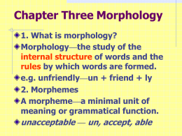 Chapter 3 Morphology..