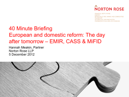 Financial services 40 minute briefing entitled `CASS