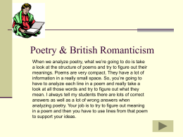Lecture #5 Poetry & Brit Romanticism