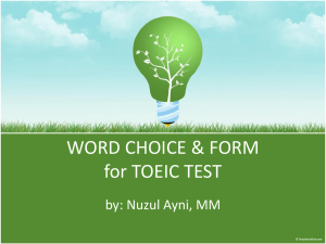 WORD CHOICE & FORM for TOEIC TEST