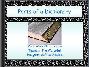 Parts of a Dictionary PowerPoint