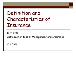 Definition and Characteristics of Insurance