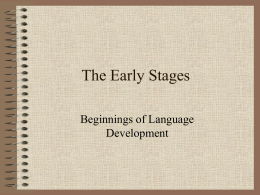 Lecture 1 Early Language development