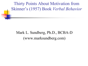 E) Thirty Points About Motivation from Skinner`s