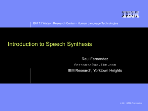 Introduction to Speech Synthesis