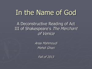 MERCHANT OF VENICE QUESTIONS