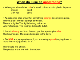 When do I use an apostrophe?
