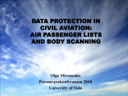 DATA PROTECTION AND SECURITY IN CIVIL AVIATION