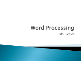 Word Processing Power Point Notes