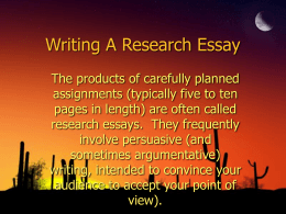 Writing A Research Essay - Mrs.Cordeiro`s Web Page