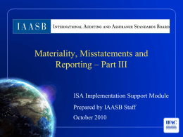 Materiality, Misstatements and Reporting