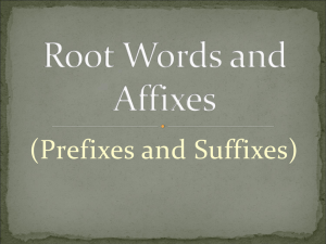 Root Words and Affixes
