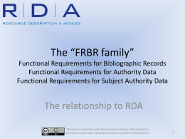 FRBR family - National Library of Australia
