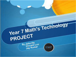 Year 7 Maths Technology PROJECT