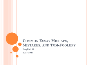 English 10 Common Essay mistakes 2013