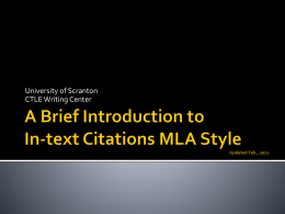 MLA in-text Citation - The University of Scranton
