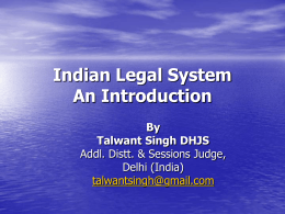 Indian Legal System An Introduction