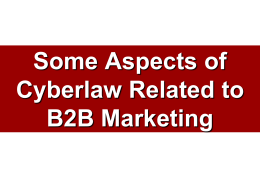 Some Aspects of Cyberlaw Related to B2B Marketing