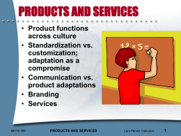 Global Products and New Product Development