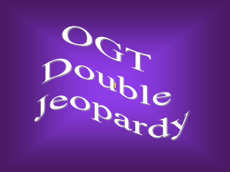 Reading and Writing OGT Jeopardy