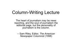 Column-Writing Lecture