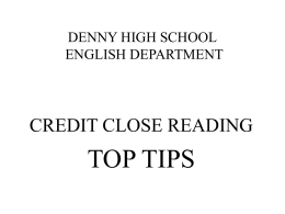 eastbank academy english department credit close reading : top