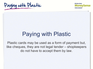 Paying with plastic - Ulster Bank MoneySense at Home