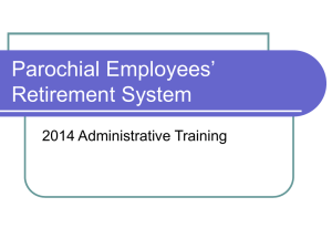 Administrative Issues - Parochial Employees Retirement