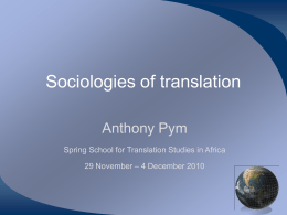 Sociologies of translation
