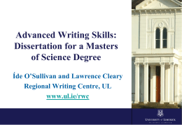 Dissertation Writing - University of Limerick