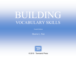 Building Vocabulary ch 3