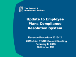 IRS Employee Plans Compliance Resolution System PPT