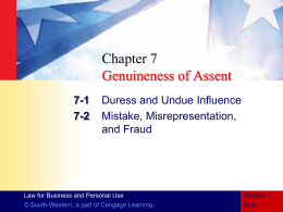 CHAPTER 7 Genuineness of Assent