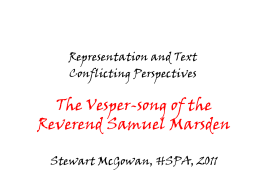 The Vesper-Song of the Reverend Samuel Marsden