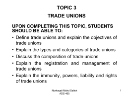TOPIC 2 TRADE UNIONS
